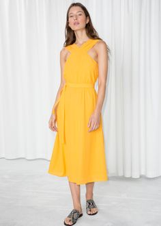 Cross Front Dress - Yellow - Midi dresses - & Other Stories Yellow Gown, Yellow Midi Dress, Wedding Guest Looks, Summer Outfits, Summer Dresses, Summer Clothes, Fashion Story, Ladies Dress Design, Bridesmaid Dresses