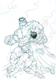 Crossover The Hulk vs Superman by Mike S. Marvel Dc, Marvel Funny, Marvel Heroes, Harley Quinn Tattoo, Harley Quinn Comic, Comic Book Characters, Comic Books Art, Comic Art, Hulk Vs Superman