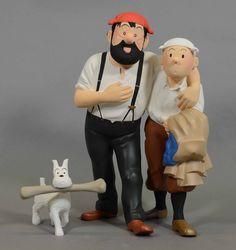 Catawiki online auction house: Kuifje - Figurine - Kuifje en Haddock in de woestijn Bobbie met been - De krab met de gulden scharen (1993-1995)