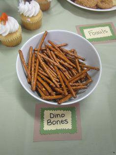 dino party, pretzel sticks