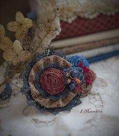 Купить Брошь Кантри - брошь ручной работы, брошь цветок, брошка, бохо стиль