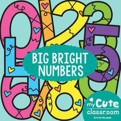 Numbers Display - Big Bright Numbers by From the Pond Crayon Bulletin Boards, Kindergarten Bulletin Boards, Bulletin Board Borders, Reading Bulletin Boards, Winter Bulletin Boards, Classroom Bulletin Boards, Preschool Classroom, Classroom Activities, Classroom Ideas