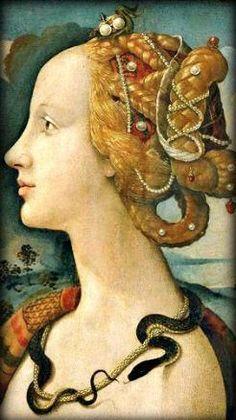Portrait of Simonetta Vespucci as Cleopatra by the Italian Renaissance painter Piero di Cosimo, Italian Renaissance, Renaissance Art, Character Aesthetic, Aesthetic Art, Snake Painting, Giorgio Vasari, Snake Art, Cosplay Anime, Renaissance Paintings