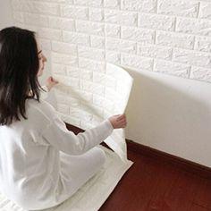 ENKO 3D Ziegelstein-Tapete 60 x 60cm Ziegelstein-Wandaufkleber, Wand-Paneele für Fernsehapparat-Wände Dekoration wasserdicht Weiß 1 Satz (1 pcs)