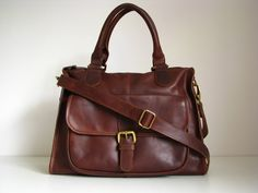 Leather Handbag Purse Pocket Bag Vintage Look by TheLeatherStore