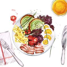 By natalia hubbert food log, food sketch, watercolor food, watercolour pain Fun Snacks For Kids, Dinner Recipes For Kids, Kids Meals, Illustration Art Nouveau, Illustration Art Drawing, Art Drawings, Watercolor Food, Watercolor Art Paintings, Art Couple