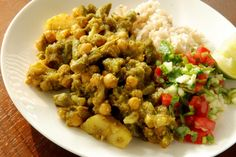 Potato, cauliflower, chickpea, green bean Thai curry with cucumber & coriander salsa