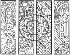 """Digital Download Coloring Page Hand Drawn """"Thoughts"""" Bookmarks Hippie Abstract Zendoodle Bookmark Doodle By Kat. $2.20, via Etsy."""