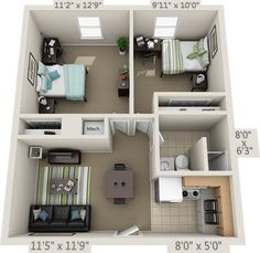 2 Bedroom Apartment Floor Plan, Small Apartment Plans, Small Apartment Layout, Studio Apartment Floor Plans, Bedroom House Plans, Apartment Bathroom Design, Studio Floor Plans, Sims House Plans, House Layout Plans