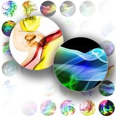 Smoky rainbow digital collage bottle cap size 1 inch circles jewelry making paper supplies altered art download file