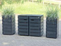 3er m lltonnenbox holz anthrazit grau reihenhausgarten. Black Bedroom Furniture Sets. Home Design Ideas