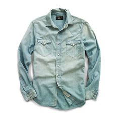 RRL Slim Chambray Buffalo Western Shirt