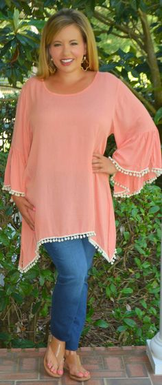 Pom Pom Pow Tunic Top - Peach - Perfectly Priscilla Boutique