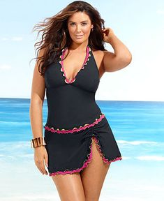 Profile by Gottex Plus Size Swimsuit, Tricolore Ruffle Skirted Bottom - Plus Size Swim - Plus Sizes - Macy's- so cute, not my size though :(