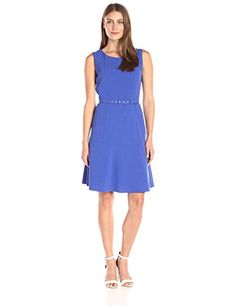 Nine West Womens Sleeveless Topstitch Drs W Belt Lapis 2 >>> You can get more details by clicking on the image.
