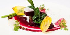 This elegant beetroot starter recipe from Daniel Galmiche finds the perfect balance between sweet and sharp thanks to the sweet roasted Chel...