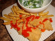 A healthy chicken tender and ranch for dipping!