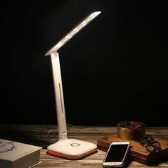 Excelvan IM888R - 4W Plegable Lámpara LED de Sobremesa Escritorio con Base RGB (Control Táctil, Recargable USB, 5 Modos de Brillo, 3 Modos Temperatura de Color, Cuidado de los Ojos, para Niños Dormitorio Estudio Lectura Sueño), Blanco: Amazon.es: Electrónica