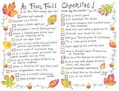 Super Fun Fall Checklist!!