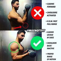 DUMBBELL CURLS:  vs   by @maxnottfit   DB bicep curls are a classic go-to since they seem pretty self-explanatory...   The reality is however there are a lot of small mistakes people often make when trying them. This is a very common one I see    To curl the weight some people will swing their elbows forward and curl as far up as possible    What this actually does is use a range of motion that spans PAST the actual full range of motion switching from using the bicep as the agonist (main…