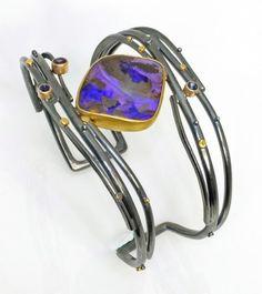 SYDNEY LYNCH - Purple Opal Twig Cuff; Boulder opal, amethyst, sapphires, 18k & 22k gold, oxidized sterling silver.  Cuff is 1.5 inches wide.