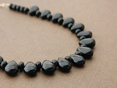 Black Drops NecklaceDrops Glass Charming Party Necklace by gabeadz