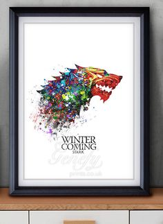 Game of Thrones House Stark Watercolor Art Poster Print - Game of Thrones Art Watercolor Painting - Home Decor  - House Warming Gift