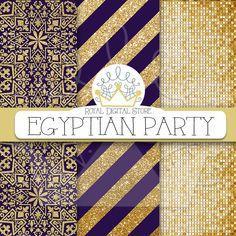 "Purple digital paper: ""EGYPTIAN PARTY"" with purple background, purple scrapbook paper, dark purple and gold, glitter, chevron, gold #gold #glitter #damask #partysupplies #summerdigitalkit #planner #digitalpaper #scrapbookpaper"