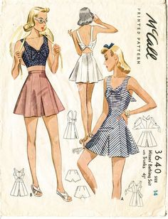 1940s *RARE* vintage sewing pattern crop top playsuit shorts beach romper waist 27 w27 bust 32 b32 McCall 3460