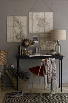 Vintage maps in home office.