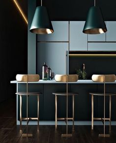 Very contemporary kitchen in blues and copper