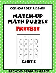 Match-Up Math Puzzle FREEBIE https://www.teacherspayteachers.com/Product/Match-Up-Math-Puzzle-FREEBIE-2487475