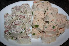 Olive The Ingredients: Tortilla Roll-Ups Dill & Ham Roll-Ups or Crab Roll-Ups We should try both!