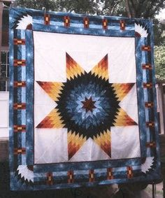 quilt patterns native american designs | ... design and feathers in the corner. Dianes Native American Star Quilts