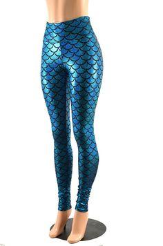 ddb9a184e6 Turquoise Holographic Dragon Scale High Waist Mermaid Leggings -E7896