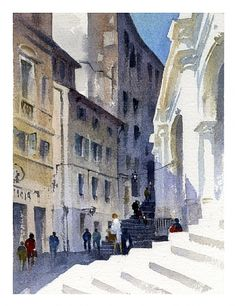 vicenza 3 by Thomas W Schaller Watercolor ~ 14 inches x 10 inches