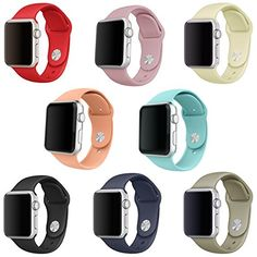 SailFar Silicone Replacement Wristbands for Apple Watch Version 1 Series 2 38mm Large 8 Pieces ** Click image to review more details.