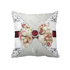 Elegant Rose Bow Lace Look Throw Pillow
