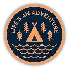 Nature stickers - Life's an Adventure Sticker – Nature stickers Tumblr Stickers, Cool Stickers, Circular Logo, Typography Layout, Retro Logos, Badge Design, Aesthetic Stickers, Kids Prints, Sticker Design