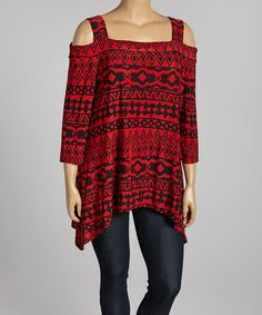 Another great find on #zulily! Red & Black Tribal Cutout Tunic - Plus by Come N See #zulilyfinds