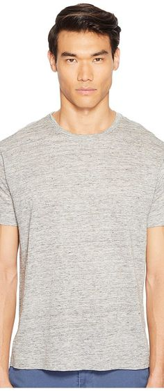 ATM Anthony Thomas Melillo Linen Relaxed Fit Crew Neck Tee (Heather Grey) Men's T Shirt - ATM Anthony Thomas Melillo, Linen Relaxed Fit Crew Neck Tee, AM4122-OZ, Apparel Top Shirt, T Shirt, Top, Apparel, Clothes Clothing, Gift - Outfit Ideas And Street Style 2017