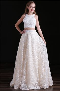 Charming Lace Jewel Neckline Floor-length Two-piece A-line Prom Dresses With Beadings,,Evening Gowns Elegant Bridesmaid Dresses, Prom Dresses Two Piece, Backless Prom Dresses, A Line Prom Dresses, Elegant Dresses, Evening Dresses, Party Dresses, Quince Dresses, Maxi Dresses