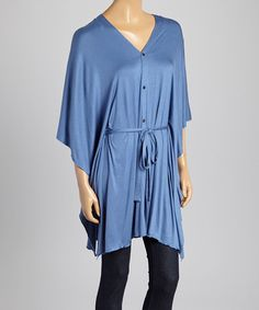 Blue Tie-Waist Button-Up Shawl by Style 101 by Ganz. On sale now! Several colors!