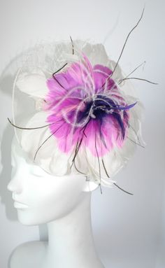 Pretty White, Pink & Purple hair fascinator - Inspired by Claire Jane, LLC