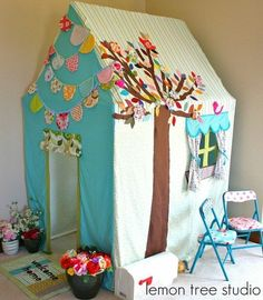 Table tent adorable fabric and pvc playhouse by esperanza