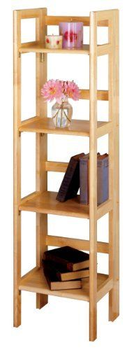 "4-Tier Foldable Shelf, Narrow By Winsome Wood by Winsome. $91.51. Assembly Required : Yes. Product Type : Home Organization / Shelving. Color Finish : Beech. Dimensions : 14""Lx11.4""Wx51.34""H. Material :  Solid wood. This folding shelf comes in three different finishes to match any space.  Use it in the bathroom for your towels, in the kids room for their stuff toys or in an office for books or files.  Made of Solid beechwood."