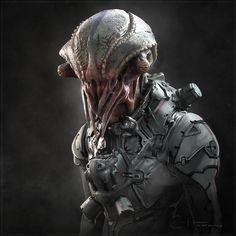 ArtStation - Creature Dude - Concept by Ben Erdt More concept art here. Alien Concept Art, Creature Concept Art, Creature 3d, Creature Design, Alien Creatures, Fantasy Creatures, Zbrush, Science Fiction, Space Opera