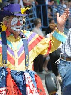 """Rodeo Clown Pictures and moments of happy clown Noses! """"Sometimes the smallest mask is the easiest way to reveal your true self. Happy People, Real People, Clown Photos, Clown Nose, Horse And Human, Rodeo Cowboys, Bull Riders, Clowning Around, Ansel Adams"""