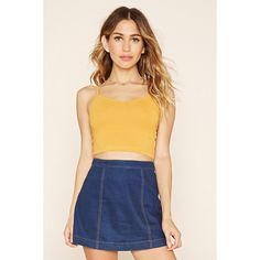 Forever21 PLUS V-Neck Cropped Cami (£1.56) ❤ liked on Polyvore featuring tops, mustard, cropped camisoles, v neck crop top, cami tank tops, crop tank and v neck tank top