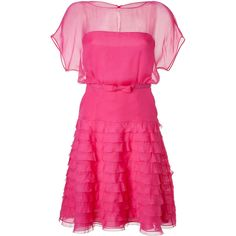 VALENTINO Fuchsia Belted Silk Dress ($3,795) ❤ liked on Polyvore featuring dresses, vestidos, valentino, pink, pink dresses, strapless dress, short sleeve dress, fuschia pink dress, full skirt and slit dress